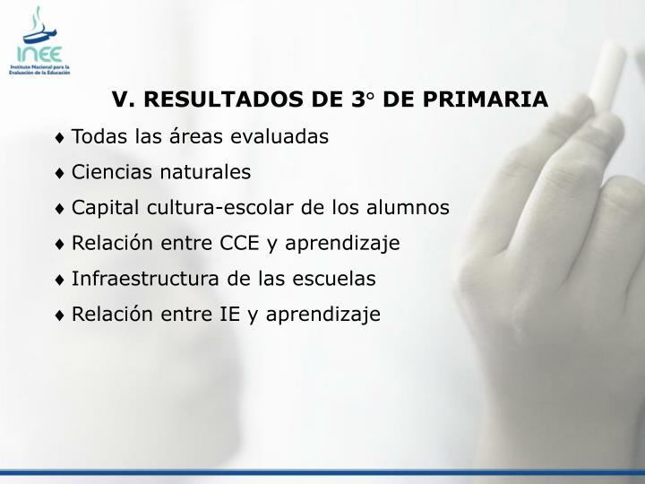 V. RESULTADOS DE 3° DE PRIMARIA