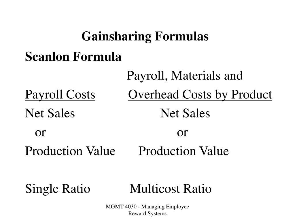 Gainsharing Formulas