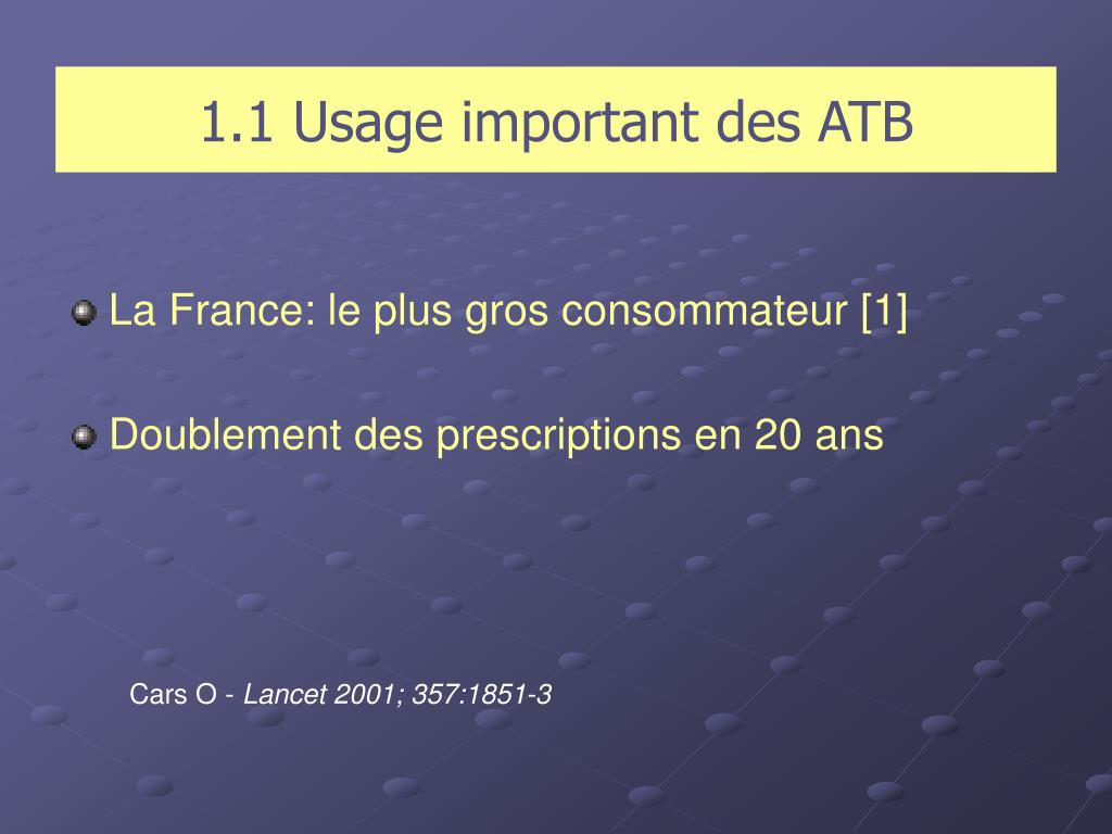 1.1 Usage important des ATB