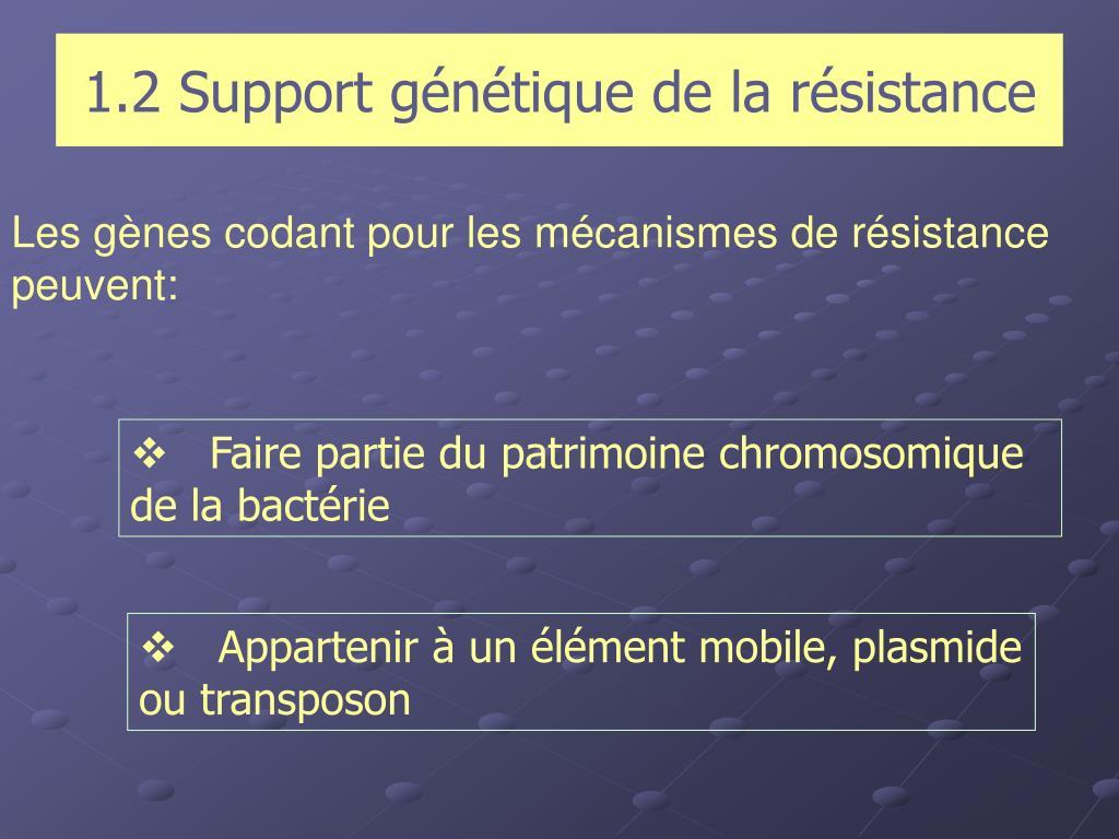 1.2 Support génétique de la résistance