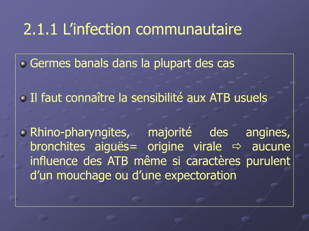 2.1.1 L'infection communautaire