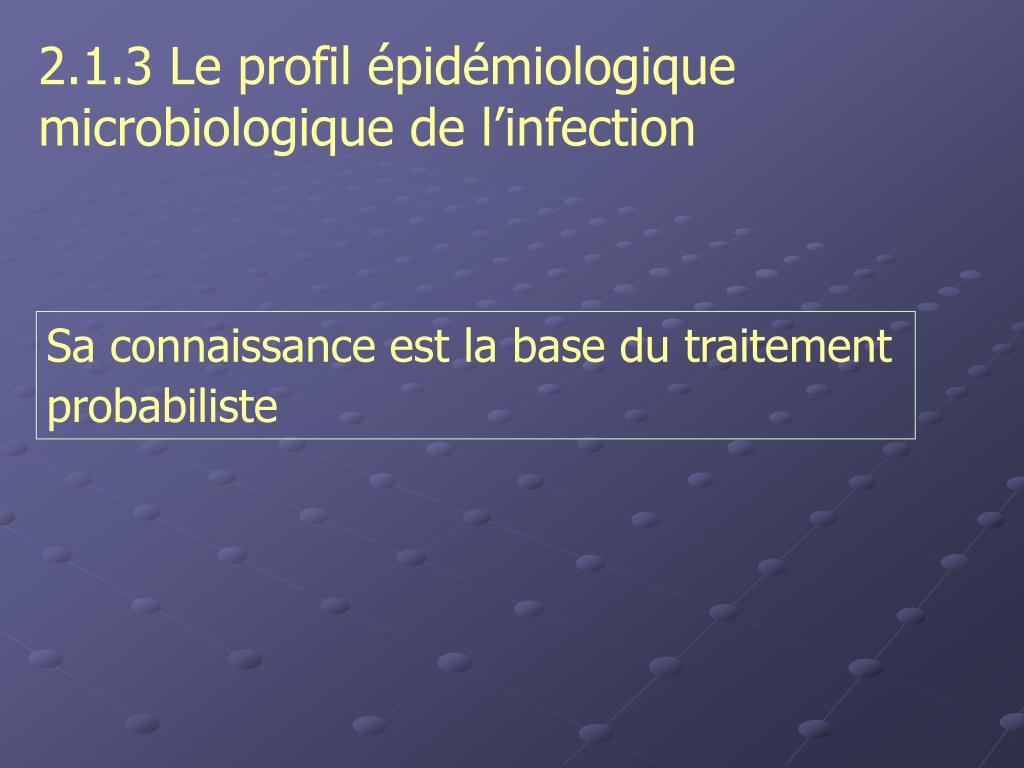 2.1.3 Le profil épidémiologique    microbiologique de l'infection