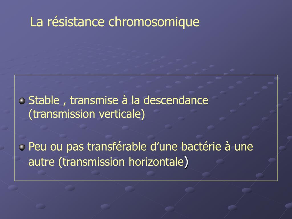 La résistance chromosomique