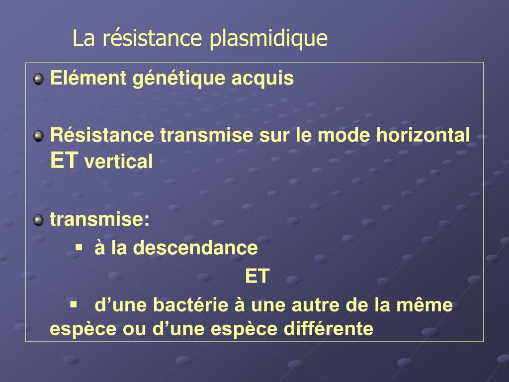 La résistance plasmidique