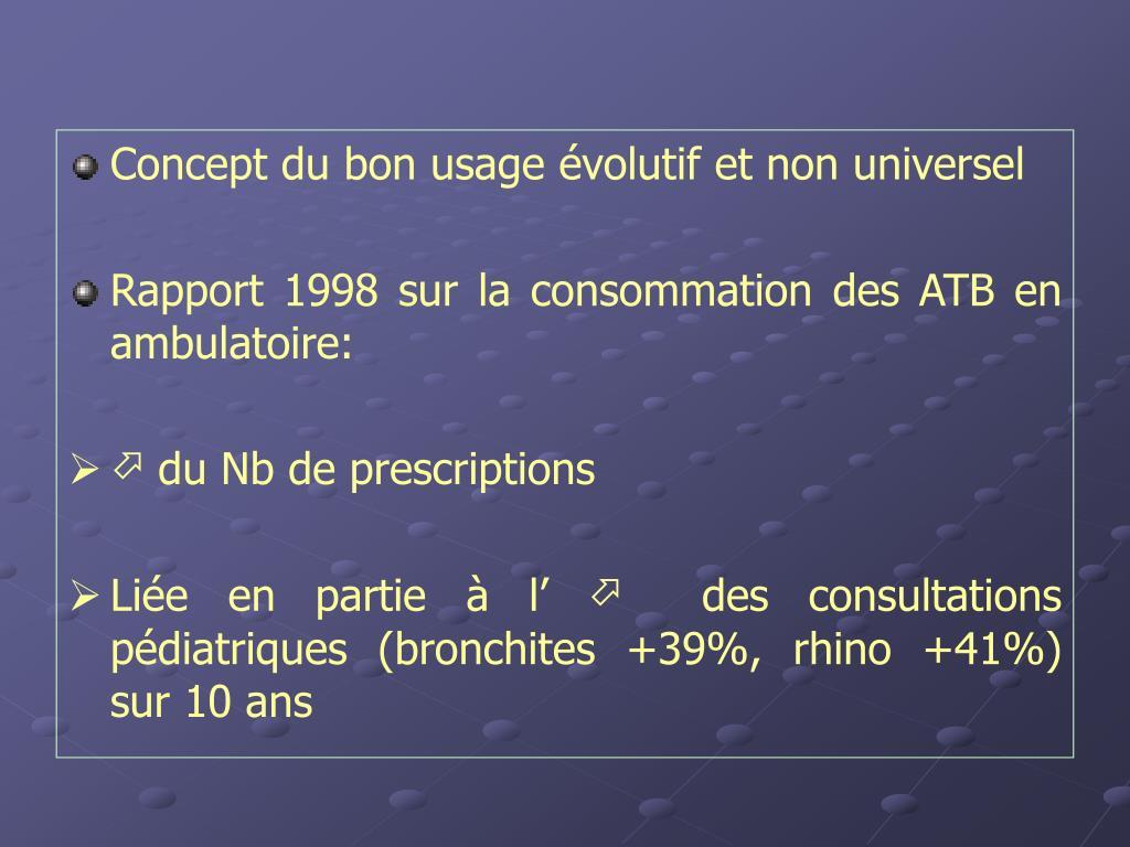 Concept du bon usage évolutif et non universel
