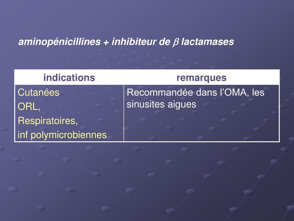 aminopénicillines + inhibiteur de