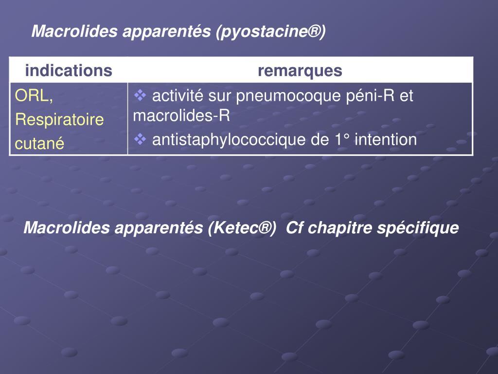 Macrolides apparentés (pyostacine