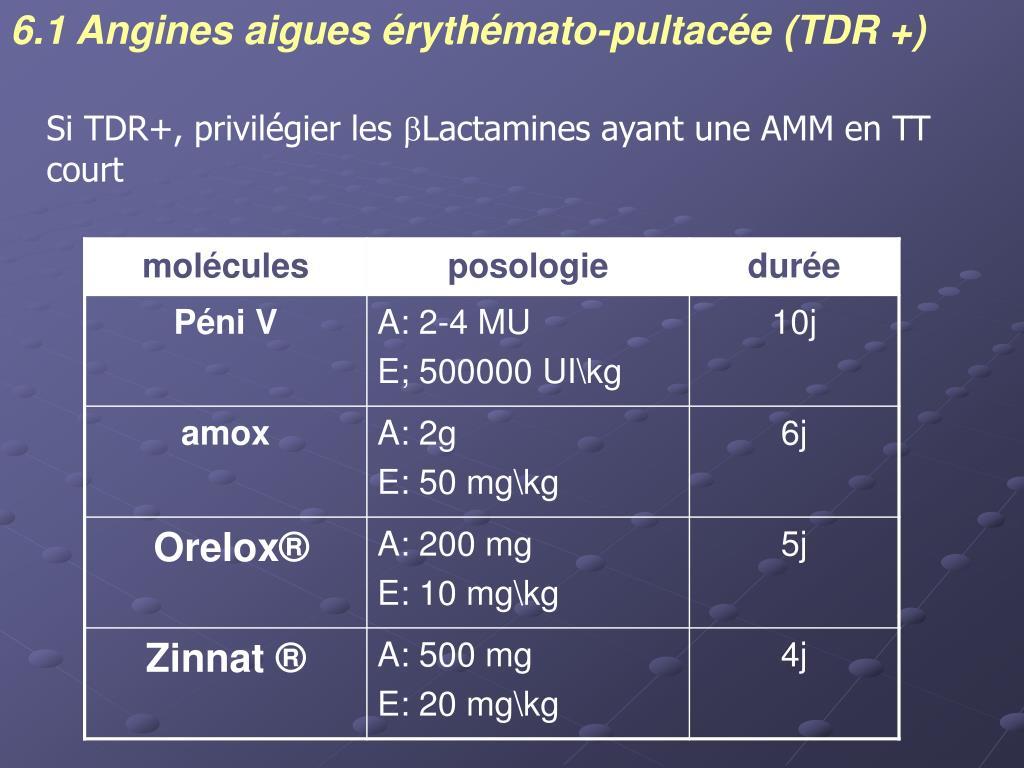 6.1 Angines aigues érythémato-pultacée (TDR +)