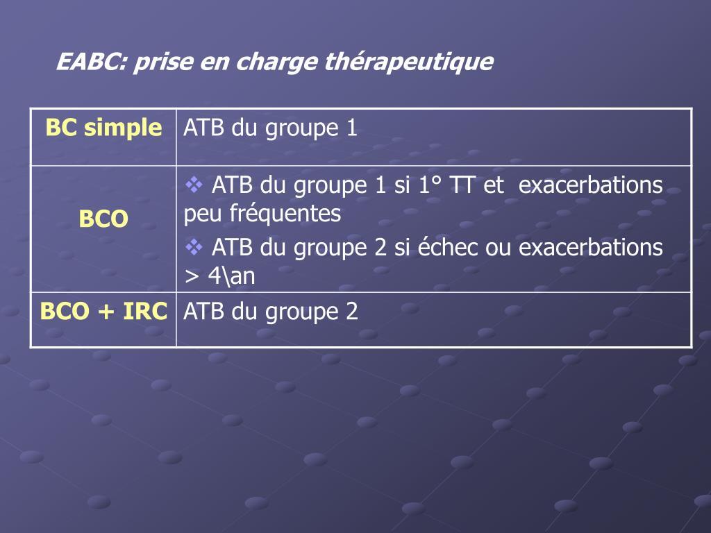 EABC: prise en charge thérapeutique