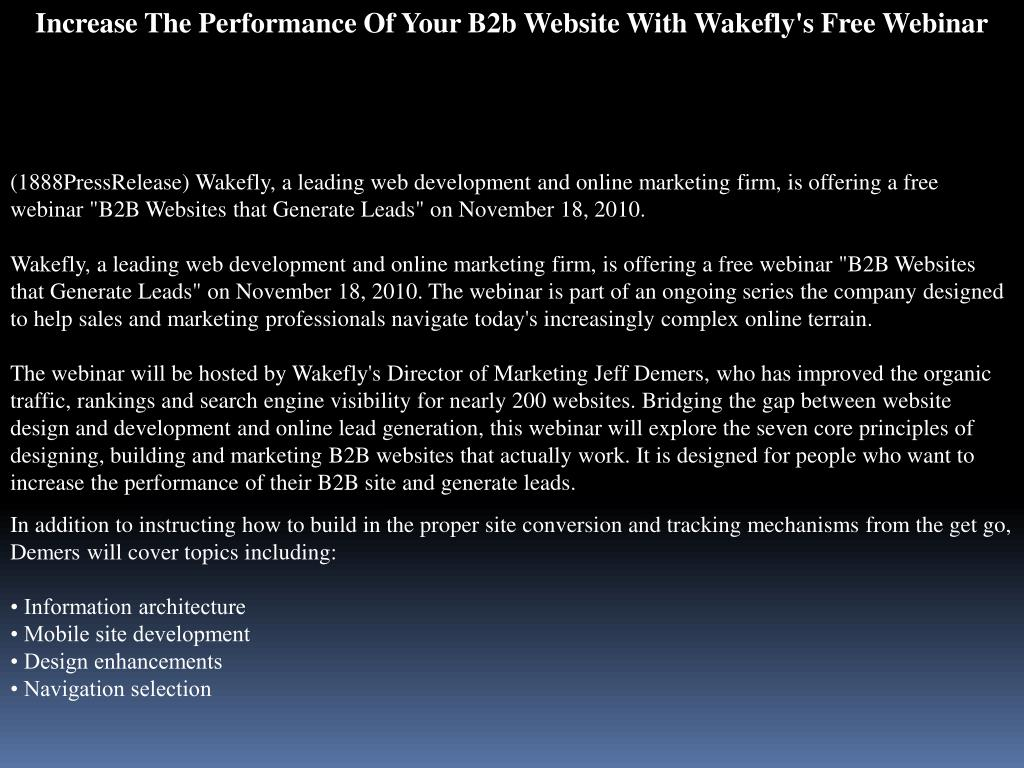 Increase The Performance Of Your B2b Website With Wakefly's Free Webinar