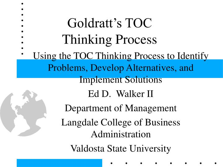 Goldratt s toc thinking process