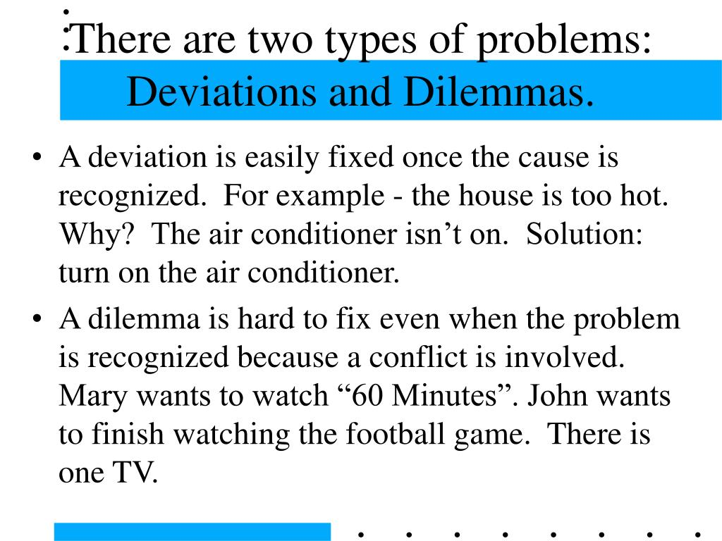 There are two types of problems: Deviations and Dilemmas.