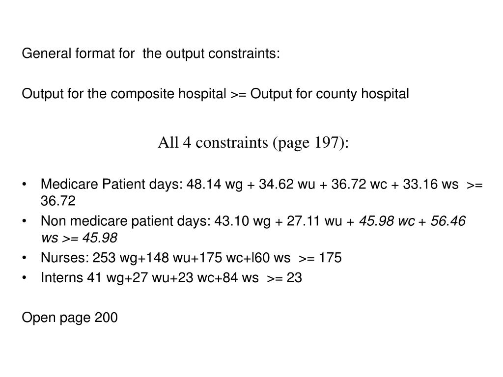 General format for  the output constraints:
