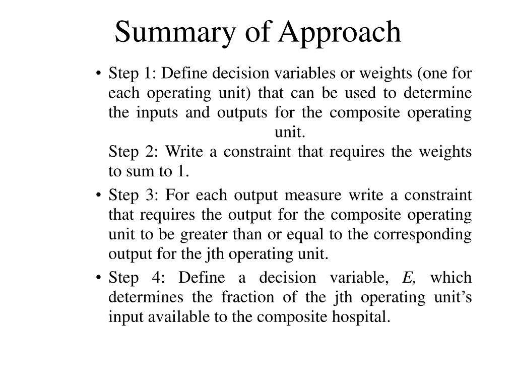 Summary of Approach