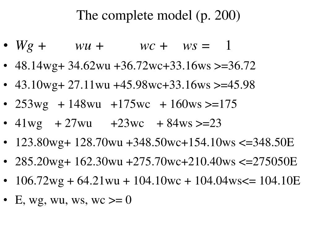 The complete model (p. 200)