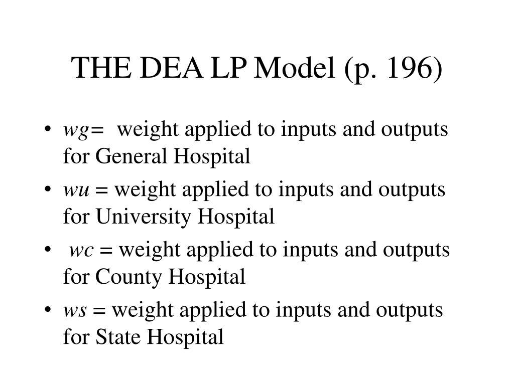THE DEA LP Model (p. 196)