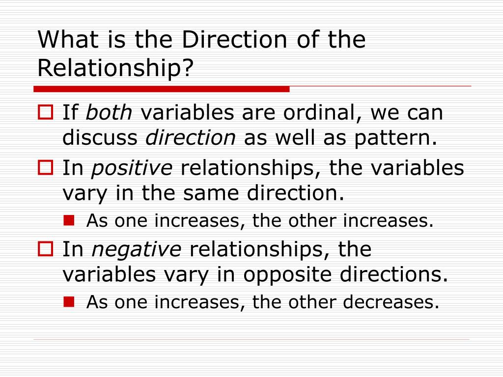 What is the Direction of the Relationship?