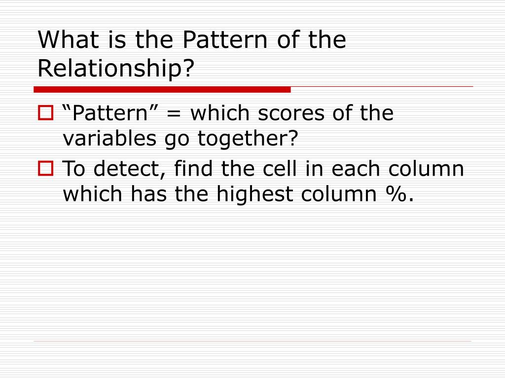 What is the Pattern of the Relationship?