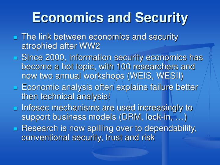 Economics and security