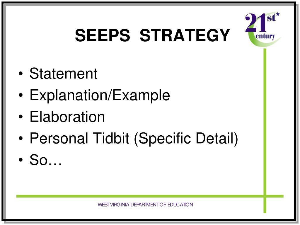 SEEPS  STRATEGY