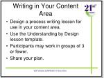 writing in your content area