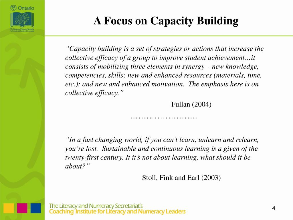 A Focus on Capacity Building