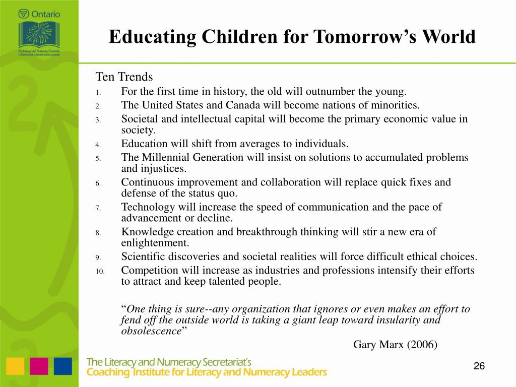 Educating Children for Tomorrow's World