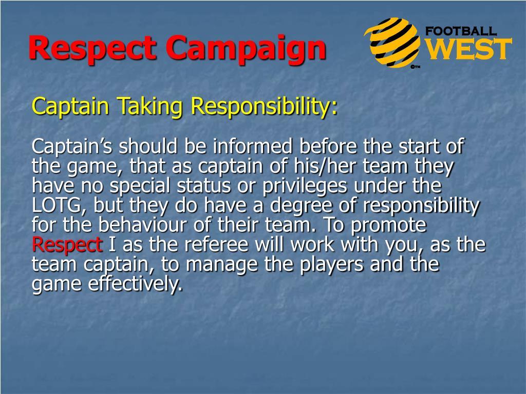 Captain Taking Responsibility:
