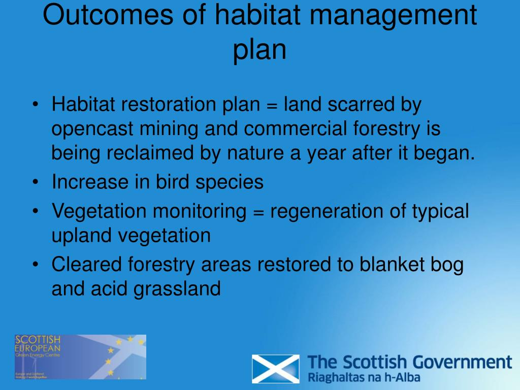 Outcomes of habitat management plan