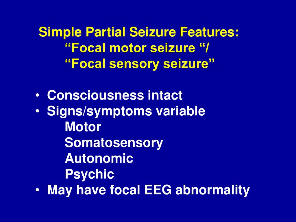 Simple Partial Seizure Features: