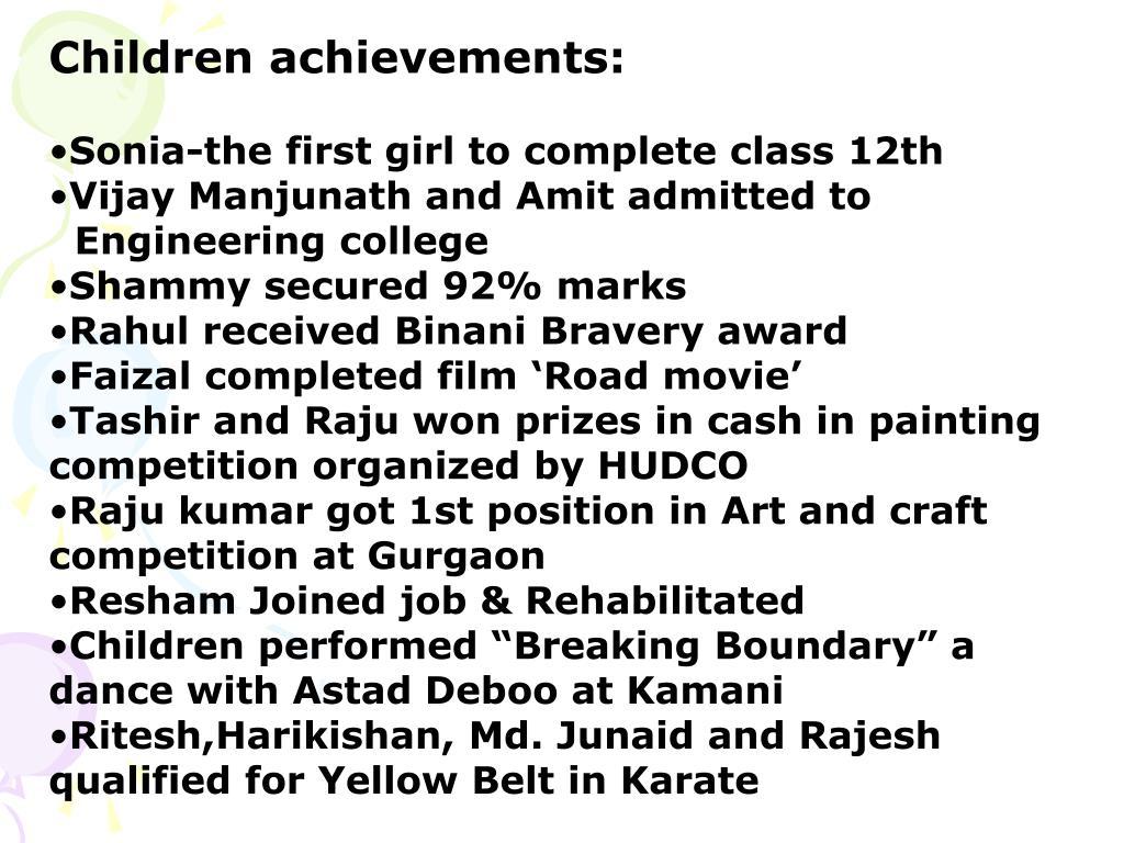 Children achievements: