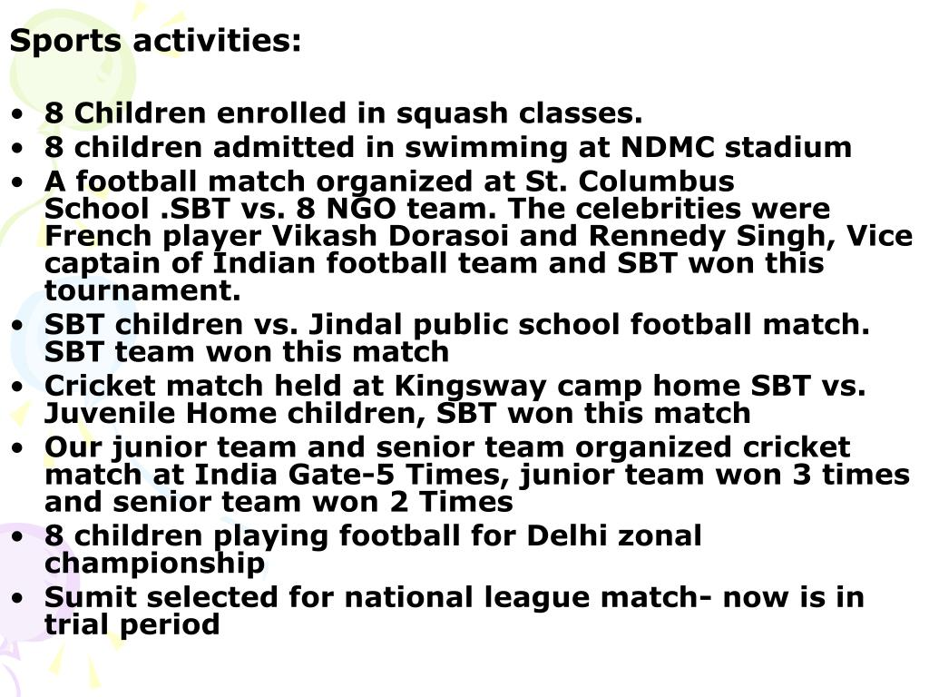 Sports activities: