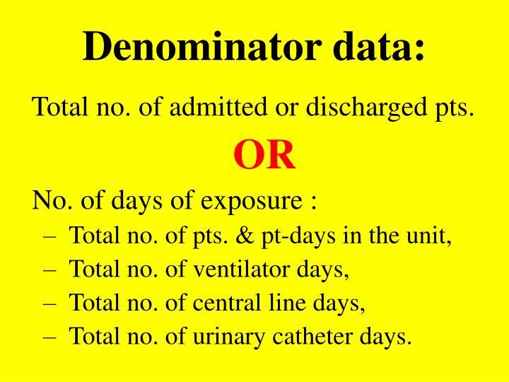 Denominator data:
