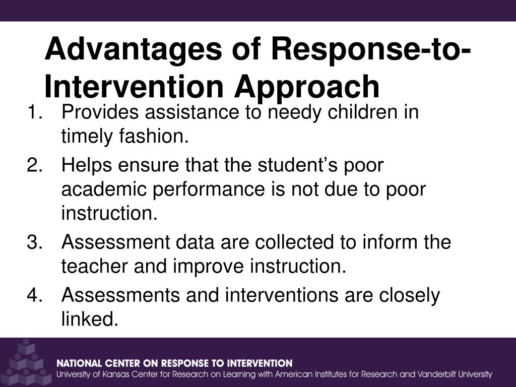 response to intervention approach Rtinetworkorg guides educators and families in the effective implementation of response to intervention an approach to such organization is discussed later in.