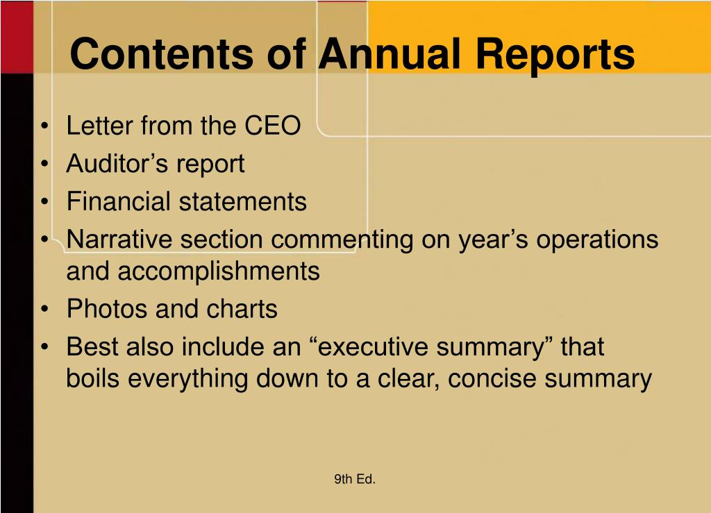 Contents of Annual Reports