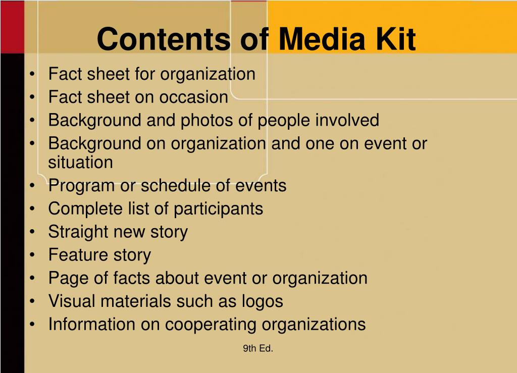 Contents of Media Kit