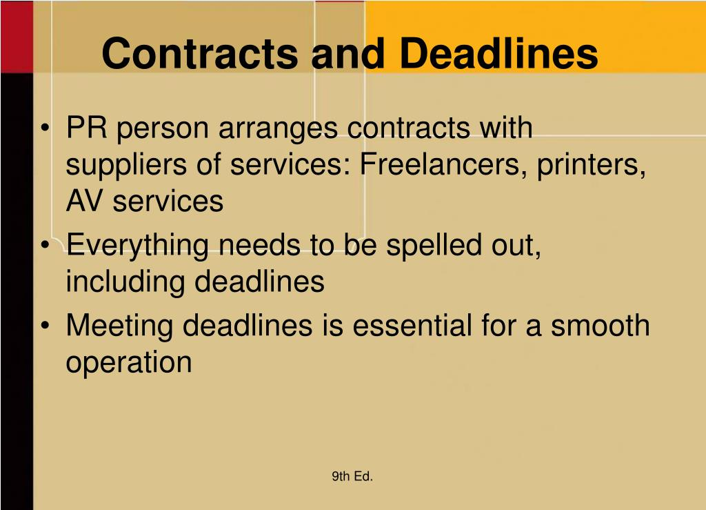 Contracts and Deadlines