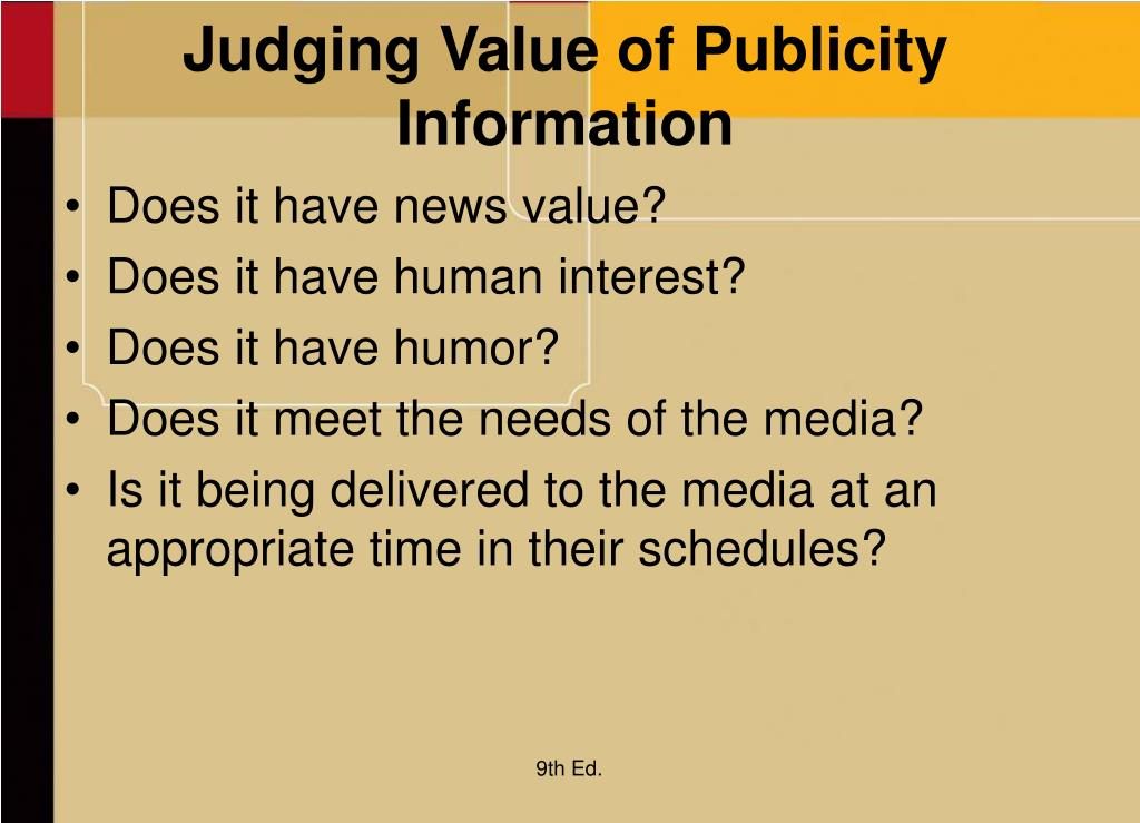 Judging Value of Publicity Information