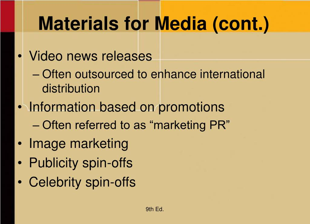 Materials for Media (cont.)