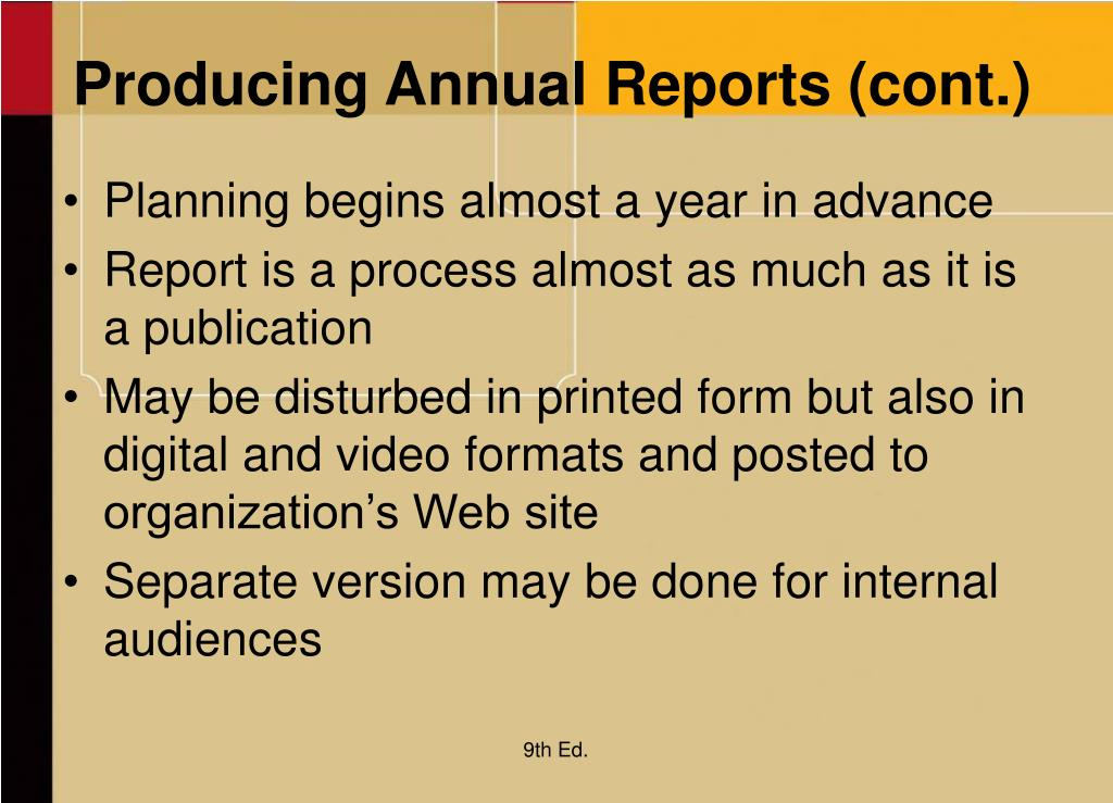 Producing Annual Reports (cont.)