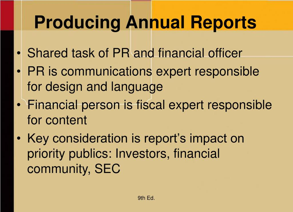 Producing Annual Reports