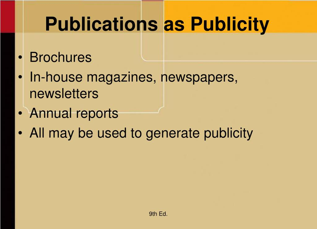 Publications as Publicity