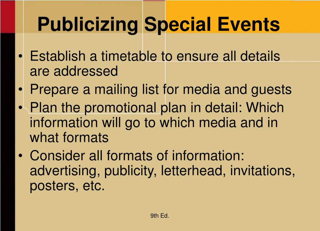 Publicizing Special Events
