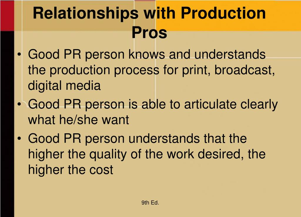 Relationships with Production Pros