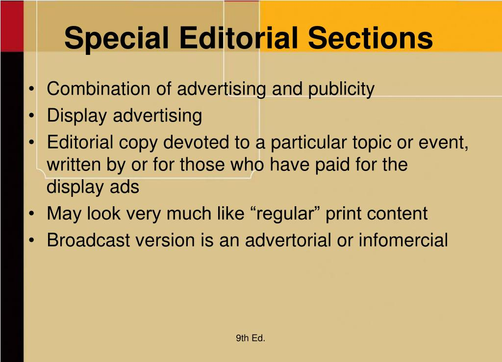 Special Editorial Sections