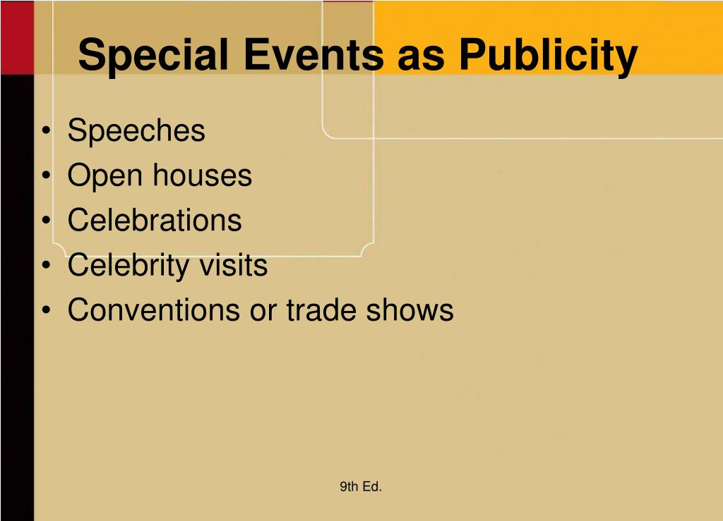 Special Events as Publicity