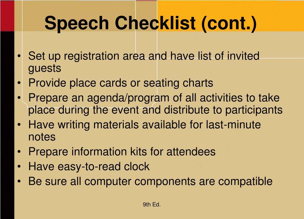 Speech Checklist (cont.)