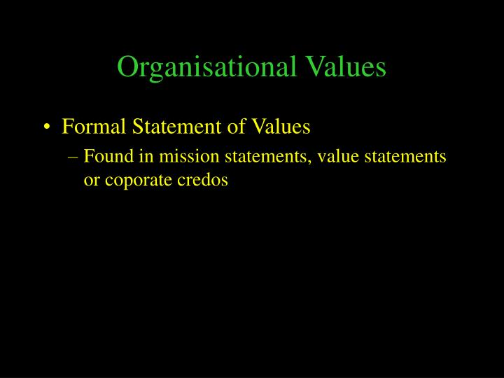 Organisational Values