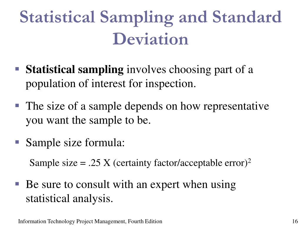 Statistical Sampling and Standard Deviation