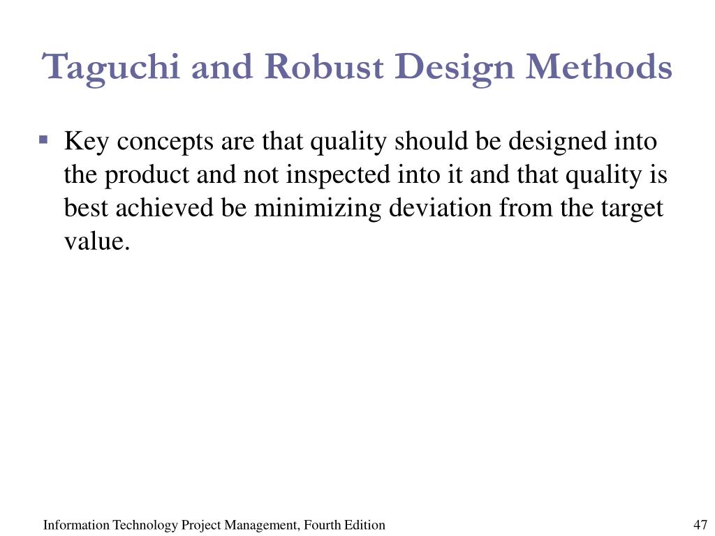 Taguchi and Robust Design Methods